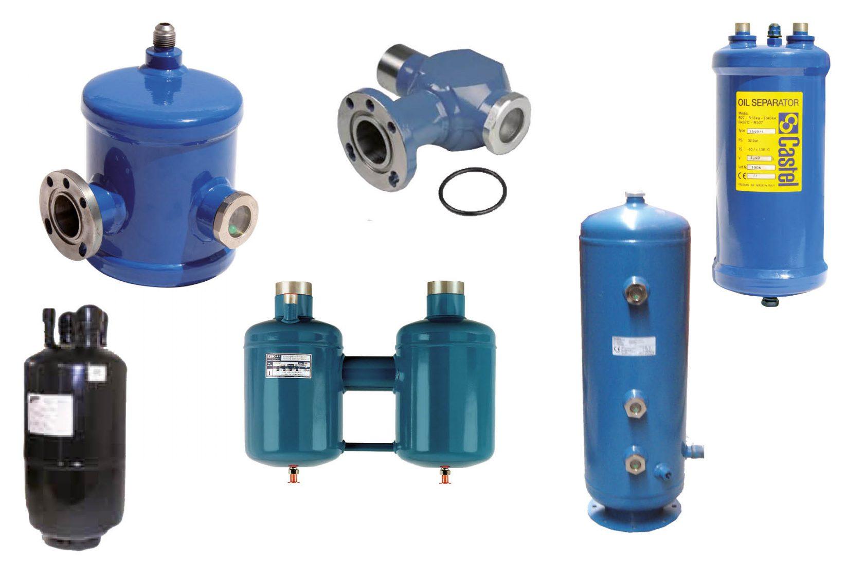 Vloeistofreservoirs, vloeistofafscheiders, oliereservoirs, olieafscheiders van ESK Schultz, Castel, Frigomec en Denaline