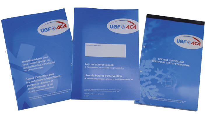onderhoudsboeken, attesten en certificaten van UBF-ACA