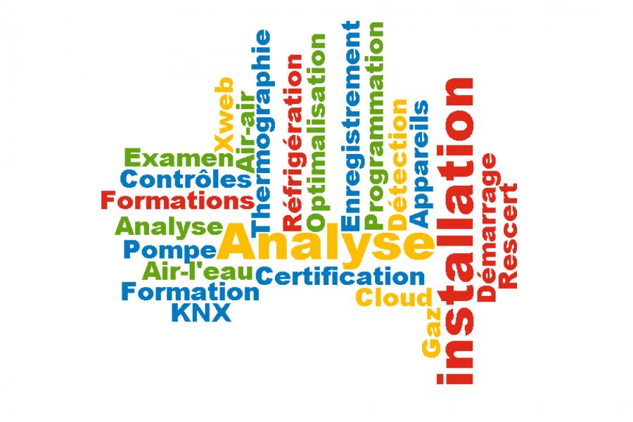 Frigro Services: Examen, contrôles, formations, analyse, pompe à chaleur, air-l'eau, formation, KNX, certification, cloud, xweb, air-air, thermographie, réfrigération, optimalisation, enregistrement, programmation, détection, appareils, gaz, installation, démarrage, rescert