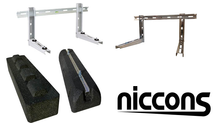 Niccons muursteunen en montagevoeten voor warmtepomp buitenunits.